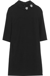 Mcq By Alexander Mcqueen Crystal Embellished Crepe Mini Dress Black