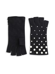 Portolano Fingerless Pearly Studded Cashmere Gloves Black Heather Grey