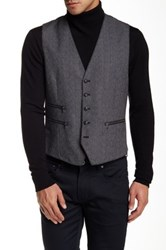 Star Usa By John Varvatos Button Front Wool Vest Gray