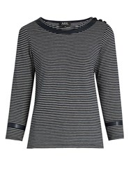A.P.C. Cobob Striped Cotton Jersey T Shirt Navy Multi