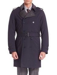 Pal Zileri Long Sleeve Virgin Wool Trench Coat Navy
