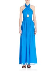 Milly Chiffon Halter Gown Blue