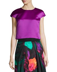 Milly Duchess Satin Cap Sleeve Top Size 4 Purple