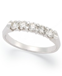 Macy's Certified Five Stone Diamond Anniversary Band Ring In 14K White Gold 1 2 Ct. T.W.
