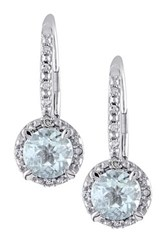Sterling Silver Round Aquamarine And Diamond Halo Drop Earrings Blue