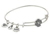 Alex And Ani Four Leaf Clover Slider Expandable Wire Bangle Silver Bracelet
