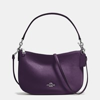 Coach Chelsea Crossbody In Pebble Leather Silver Aubergine