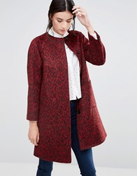 Helene Berman Collarless Swing Coat In Red Animal Red Black