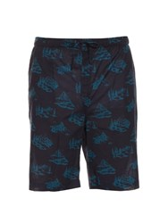 Derek Rose Mountain Range Print Cotton Pyjama Shorts Blue Multi
