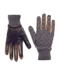 Honns Parker Quilted Wool Leather Gloves Gray