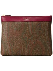 Etro Abstract Print Clutch Pink And Purple