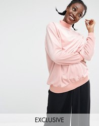 Monki Exclusive Velvet Oversized Jumper Blush Beige