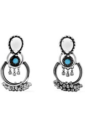 Dannijo Florence Oxidized Silver Plated Swarovski Crystal Earrings Silver Blue