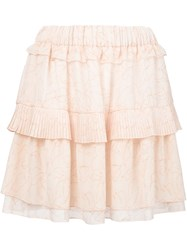 See By Chloa Pleated Ruffle Skirt Pink And Purple