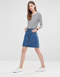 Only Zip Front Denim Skirt Blue