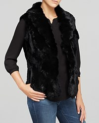 Surell Shawl Collar Rabbit Fur Vest Black
