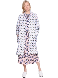 Mother Of Pearl Floral Printed Cotton And Silk Coat Light Blue Pink