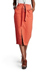 Women's Free People 'Easy Breezy' Linen And Cotton Midi Skirt