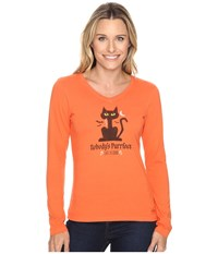 Life Is Good Nobody's Purrfect Cat Long Sleeve Crusher Vee Coral Orange Women's Long Sleeve Pullover