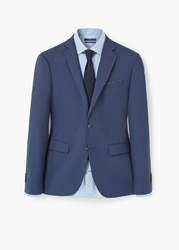 Mango Slim Fit Patterned Suit Blazer Dark Blue