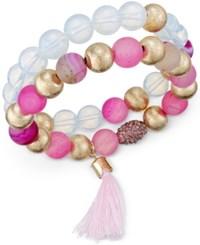 Macy's Gold Tone Pink And Clear Beaded Duo Stretch Bangle Bracelet Set