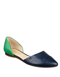Tommy Hilfiger Naree Dorsay Leather Flats Navy Blue