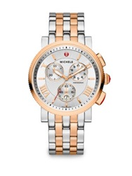 Michele Sport Sail 18K Rose Goldplated And Stainless Steel Large Chronograph Bracelet Watch Silver Rose Gold