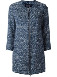 Armani Jeans Boucle Zip Coat Blue