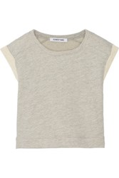 Elizabeth And James Killian Cropped Cotton Blend Top Gray