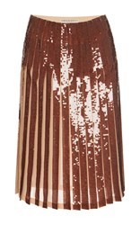 Emilio Pucci Paillette Embellished Pleated Skirt Bronze