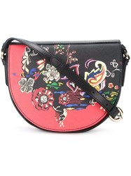 Etro Floral Print Saddle Bag Black