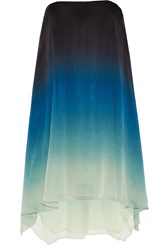 Halston Strapless Ombre Georgette Mini Dress Blue