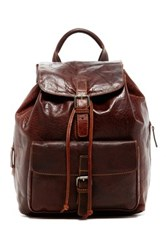 Jack Georges Voyager Drawstring Genuine Buffalo Leather Backpack Brown