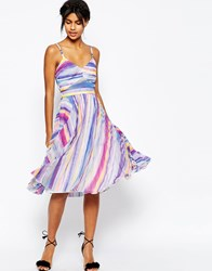 Asos Sheer And Solid Pleated Midi Dress In Bright Stripe Multi