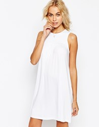 Asos Sleeveless Swing Dress With Ruching Detail White