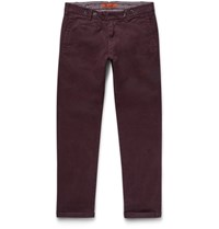 Barena Slim Fit Stretch Cotton Twill Trousers Dark Purple