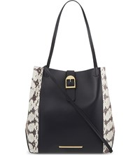 Roland Mouret Classic Snake Mix Leather Tote Navy White Blush Pink