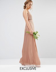 Tfnc Wedding High Neck Pleated Maxi Dress Taupe