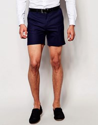 Noose And Monkey Tailored Shorts With Stretch And Turn Up In Super Skinny Fit Navy Blue