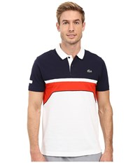 Lacoste T1 Short Sleeve Superlight Chest Stripe Detail White Navy Blue Corrida Men's Clothing