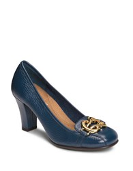 Aerosoles Enrollment Textured Leather Pumps Dark Blue