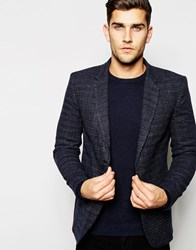 United Colors Of Benetton Textured Wool Blazer In Slim Fit Charcoal