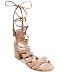 Madden Girl Loverrr Lace Up Block Heel Sandals Women's Shoes Dark Taupe