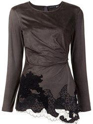 Josie Natori Lace Draped Detail Blouse Grey