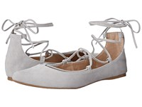 Steve Madden Eleanorr Light Grey Suede Women's Flat Shoes Gray
