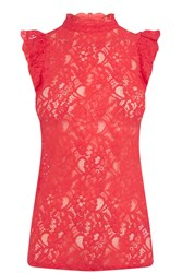 Oasis Ruffle Lace Tee Coral