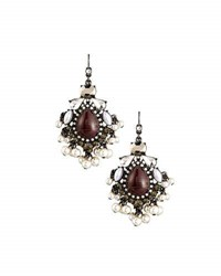 Lydell Nyc Statement Cabochon Crystal And Simulated Pearl Drop Earrings