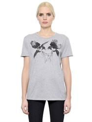 Alexander Mcqueen Birds And Pearls Printed Jersey T Shirt