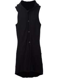 Devoa Long Sleeveless Cardigan Black