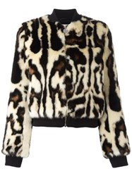 Carven Animal Print Bomber Jacket Nude Neutrals